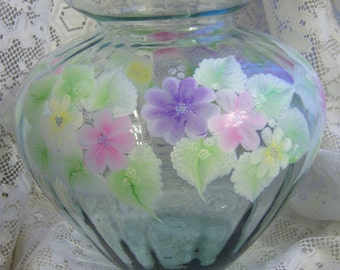 Hand Painted Glass Vase with pastel flowers, over clear glass,