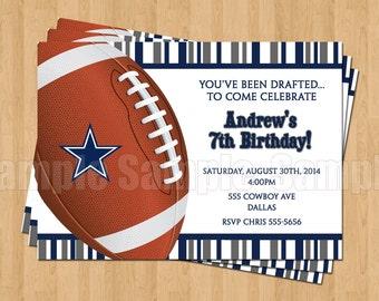 Dallas Cowboys Football Birthday Party Invitations Sports