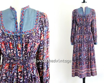 70s Vintage Mayur Jaipur India Ethnic Boho Hippie Cotton Indian Drawstring Empire Gypsy Festival Maxi Dress . XS . SM . 709.2.7.14