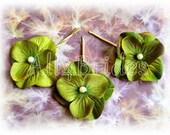 Green Hydrangea Bridal or Bridesmaid Hair Accessory Set of Three Gold Plated Bobby Pins