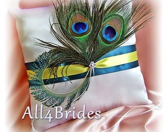 Peacock Wedding Ring Bearer Pillow, peacock feathers teal and yellow wedding accessories