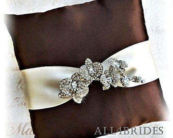 Wedding ring pillow with orchid crystal brooch, ring bearer pillow chocolate brown and ivory or white