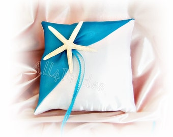 Beach wedding starfish ring pillow, turquoise starfish wedding ring cushion