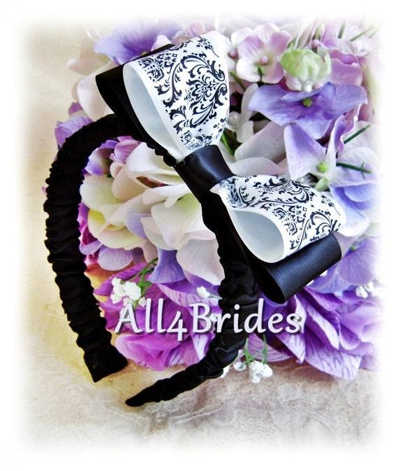 Damask wedding flower girl hair accessories, Madison damask headband.