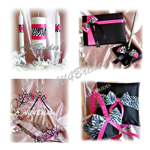 Zebra Wedding ring pillow, flower girl basket, unity candle set, guest book, cake set and flutes, 12pc, Fuchsia Hot Pink Wedding