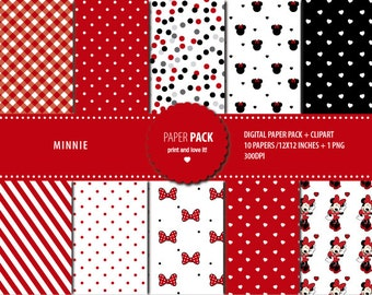 Digital Paper Pack Minnie Mouse. Red. Printable. 12x12 sheets 300 dpi scrapbooking + 1 PNG CLIPART
