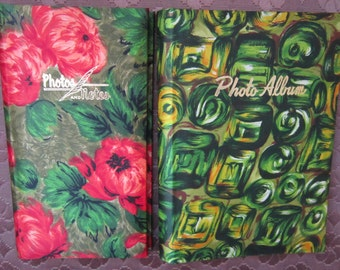 Two Cool Vintage 1970's Photograph Albums With Colorful Floral And Abstract Designs