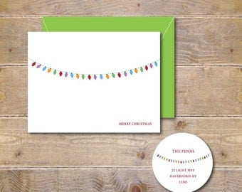 Christmas Cards . Holiday Card Set . Christmas Greeting Cards . Personalized Christmas Cards - Chunky Christmas Lights