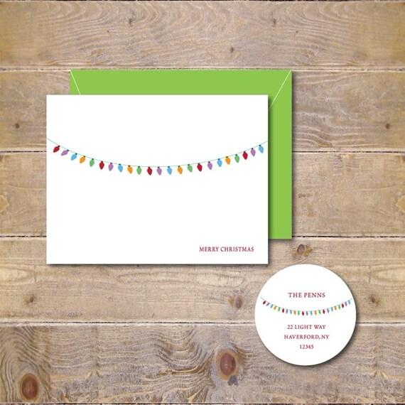 Christmas Cards . Holiday Card Set . Christmas Greeting Cards . Personalized Christmas Cards - Chunky Christmas Lights