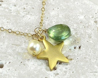Personalized Jewelry Custom Gemstone Gold Star Charm Necklace 14K Gold Filled or Sterling Silver - Star Travel - Handmade