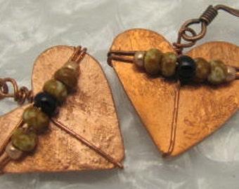 Copper Heart Shaped Earrings,  Heart Earrings, Itsy Bitsy Small Heart Earrings. Beaded Heart Earrings.