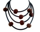 long brown unique necklace, rubber jewelry,