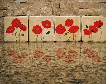 Set of 4 Porcelain coasters - Red Poppies