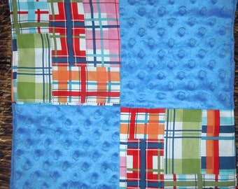 Baby Blanket, Lovie, Small Baby Blankie, Minky Lovie, Security Blanket, Wubee Bwankee,Madras
