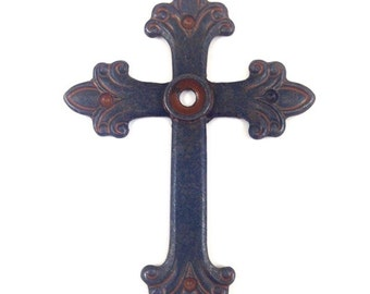 3 Fleur Cross Pendants, 6mm bezel rustic finish, 4119RU