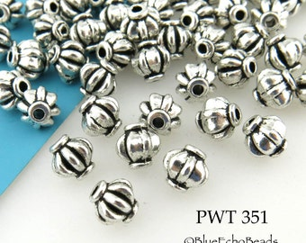 6mm Melon Pewter Beads Antique Silver (PWT 351) 30 pcs BlueEchoBeads
