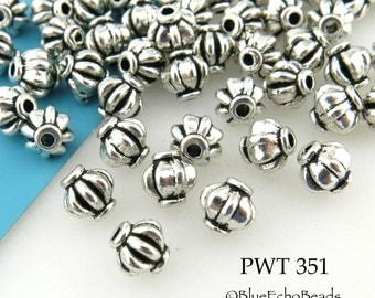 6mm Melon Pewter Beads Antique Silver (PWT 351) 30 pcs BlueEchoBeads