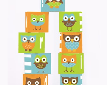 ABC Block Set Wooden Blocks 1 3/4  Inches Nine Block Set Alphabet Owl Theme