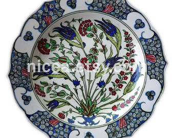 Rimmed Iznik Pottery Dish with Roses, Tulips and Spring Flowers - Handmade - Home Decor