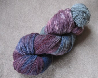 Hand-painted yarn, 400 yards, wool 75 percent, nylon 25 percent, sock weight, fingering weight yarn