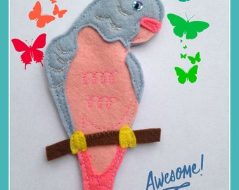 Parakeet Budgie Bag Charm - Hand Stitched from Wool Felt