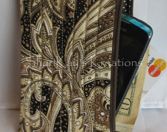 SALE - Large Size 4x7 Fabric Iphone Cell Phone Case - Zippered Case - Cell Phone Pouch
