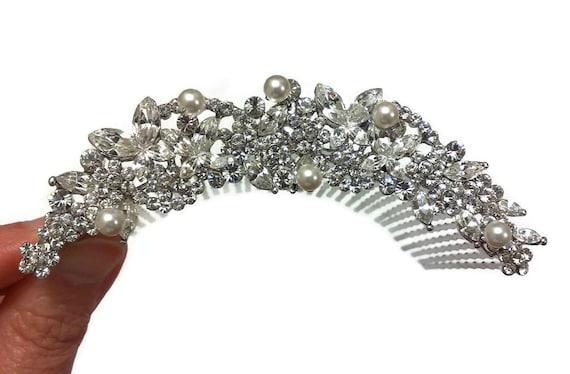Bridal Tiara Hair Comb, Floral Crown, Flower Hair Jewelry, Swarovski Crystal Pearl Headpiece, PRINCESS
