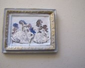 Porcelain Miniature picture of rabbits and flowers
