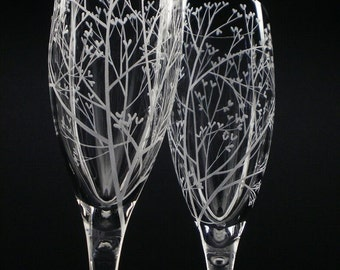 2 Champagne Flutes Hand Engraved Crystal Glass 'Tree Of Love' Wedding Flutes Spring Wedding Party