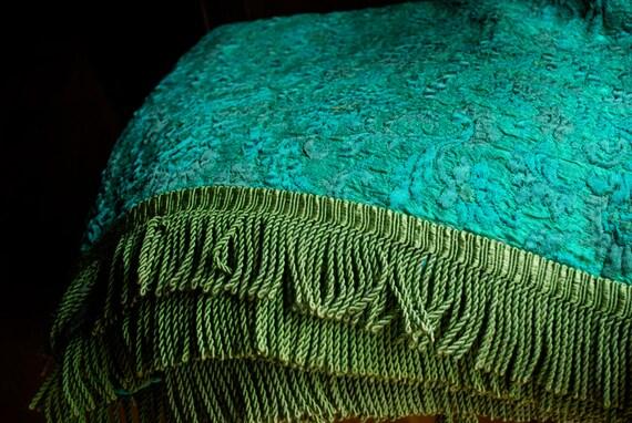 SALE Italian Brocade Bedspread Turquoise Blue Emerald Green