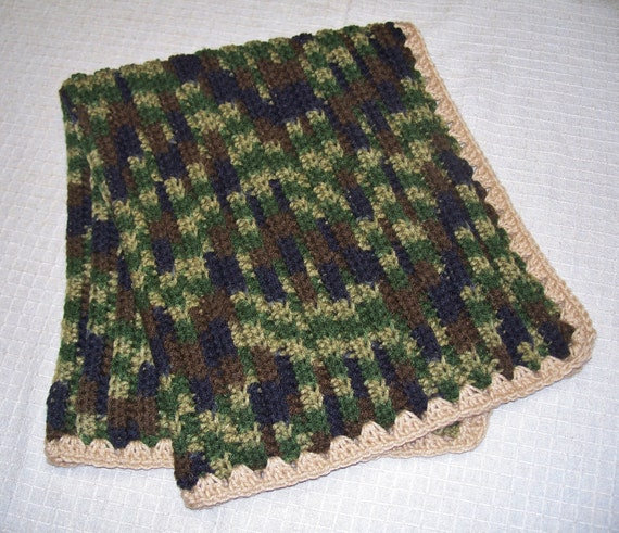 Crocheted Baby Blanket Or Lap Blanket Camouflage By