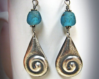 Sterling Silver Swirly Teardrop and Teal Recycled Glass Tradebeads