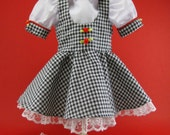 "American Girl 18"" doll dress Black Gingham Blouse Shoes Socks by Hankie Couture Fits Samantha Molly Kirsten"