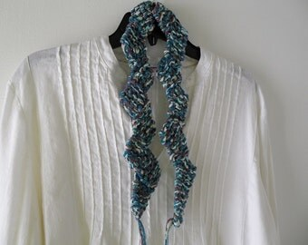 Knit scarf, women's zigzag multicolor chunky fashion, sparkly wool cotton teal purple blue green crochet i585 Life's an Expedition sale