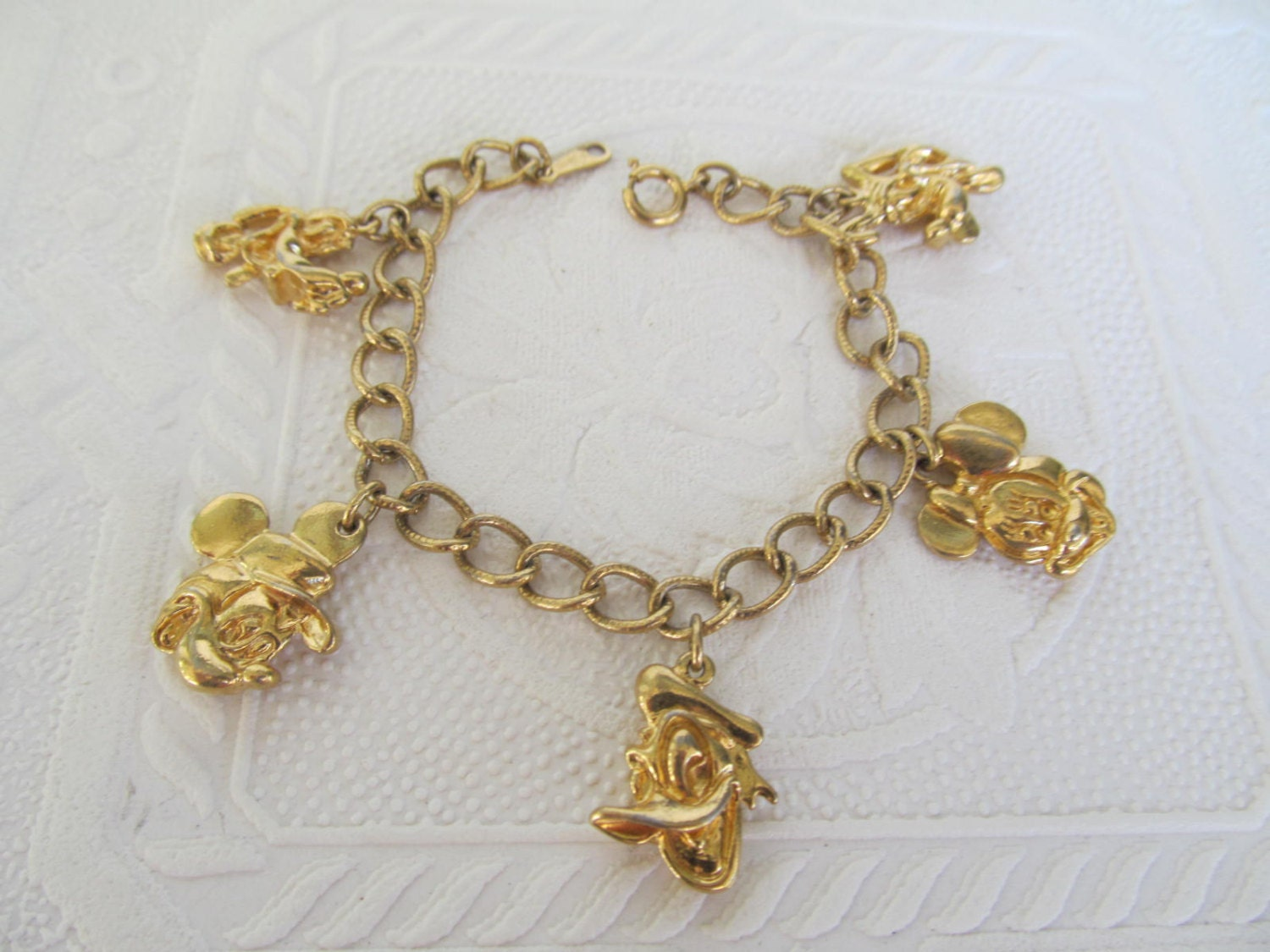 classic disney gold charm bracelet mickey mouse minnie donald