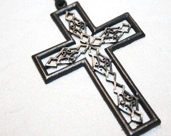 Vintage Christian Pewter Cross Necklace 1970s Pendant