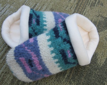 Wool Sweater Slipper with Pink & Purple Pattern -Women's Small
