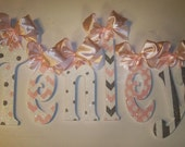 GLITTER and SPARKLE Pink and Gray Hand Painted Wood Wall Letters,  Baby Nursery Wall Letters