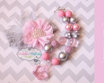 First Birthday necklace set { Posh Princess } pink, silver, princess crown, tiara, Cake Smash set, chunky necklace, photography prop