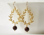 Burgundy Pearl Wreath Dangle  Earrings