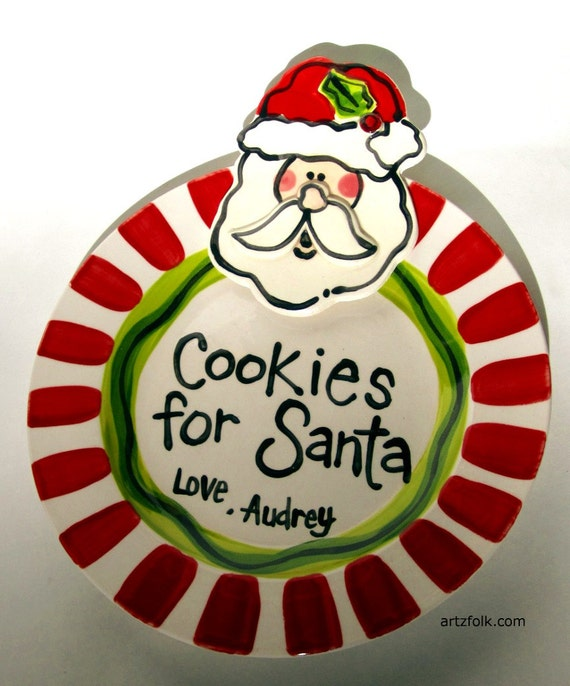 """7"""" or 10"""" Custom Cookies for Santa with childrens or family names personalized"""