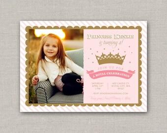 Pink & Gold Princess Birthday Invitation