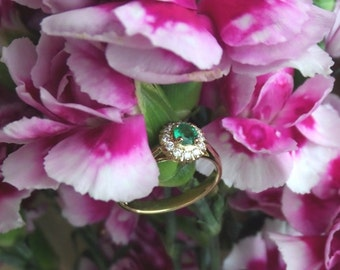 Promise Me, Emerald and Diamond Engagement Ring / Right Hand Ring, Hand Forged Original Design,  Ready to Ship