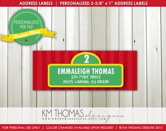 Sesame Street...Custom Address Label or Sticker...Printable Design...by KM Thomas Designs Item 106