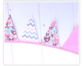 Elephant Banner, Baby Shower Banner, Elephant, Chevron Bunting, Pink, Grays, Chevron, Fabric Banner, Home Decor, Pennant Flags, Bunting
