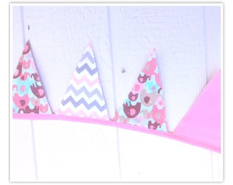Sale:  Elephant Banner, Baby Shower Banner, Elephant, Pink, Grays, Chevron, Fabric Banner, Home Decor, Pennant Flags, Bunting