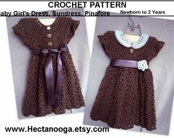 Girl's dress - CROCHET PATTERN/ baby girls dress, Newborn to age 2 sizes, Advanced Beginner, girl's clothing, 2 flower patterns also, #664