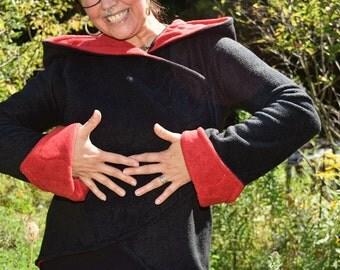 Fleece Fae Faery Jacket Size L Black /Red lining