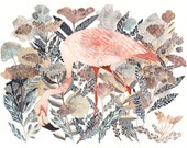 Flamingo and Coastal Angelica - Larger Archival Print