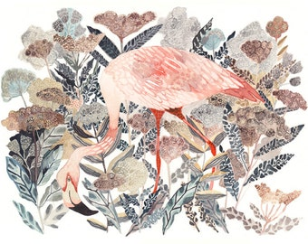 "Flamingo and Coastal Angelica - 8"" x 10"" Archival Print"